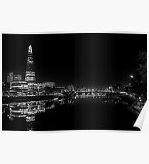 The Shard at Night black and White Poster