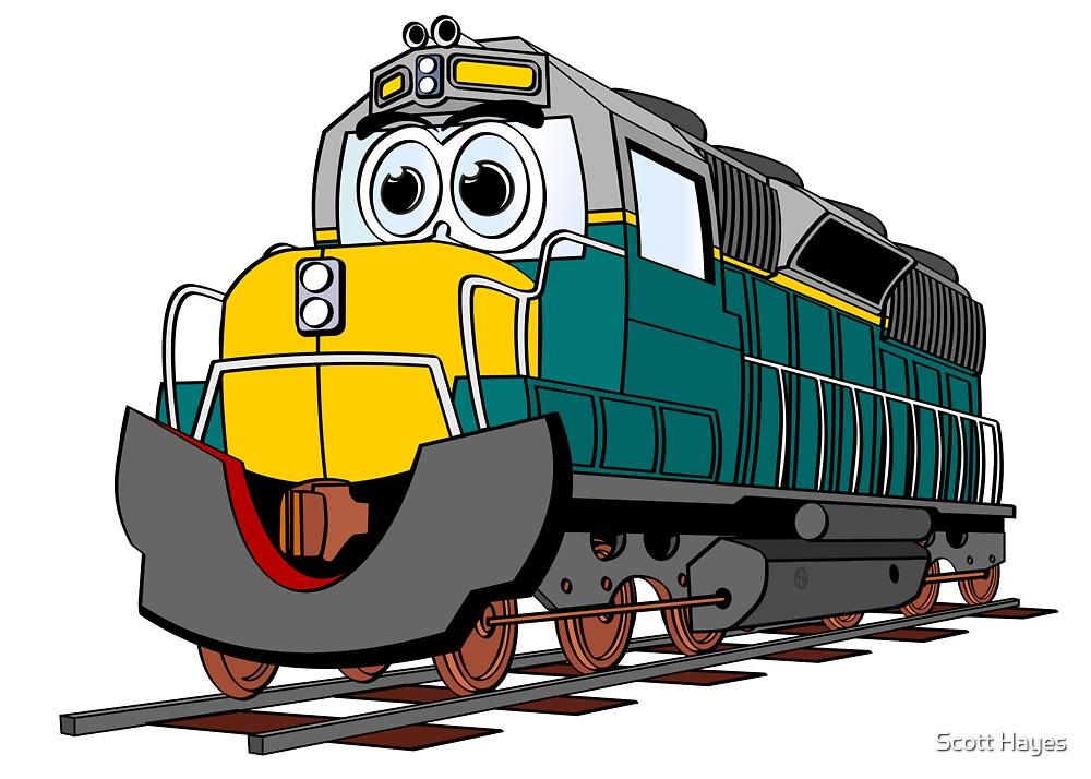 Tiel Train Engine Cartoon by Graphxpro