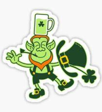 Leprechaun Balancing a Glass of Beer on his Head Sticker