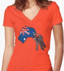 Keys to Australia  Women's Fitted V-Neck T-Shirt