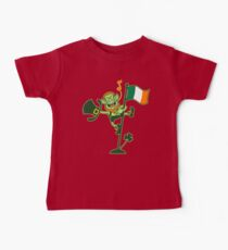 Green Leprechaun Singing on a Flag Pole Baby Tee