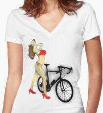 SEXY Cycle BIKE PRINT  Women's Fitted V-Neck T-Shirt