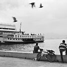 Ferryboat in Karsiyaka Port in Izmir, Turkey by Ilker Goksen