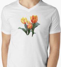 Orange and Yellow Tulips Men's V-Neck T-Shirt