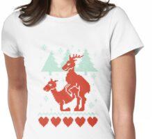 Christmas Deer Womens Fitted T-Shirt