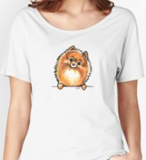 Red Pomeranian Paws Up Women's Relaxed Fit T-Shirt