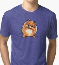 Red Pomeranian Paws Up Tri-blend T-Shirt