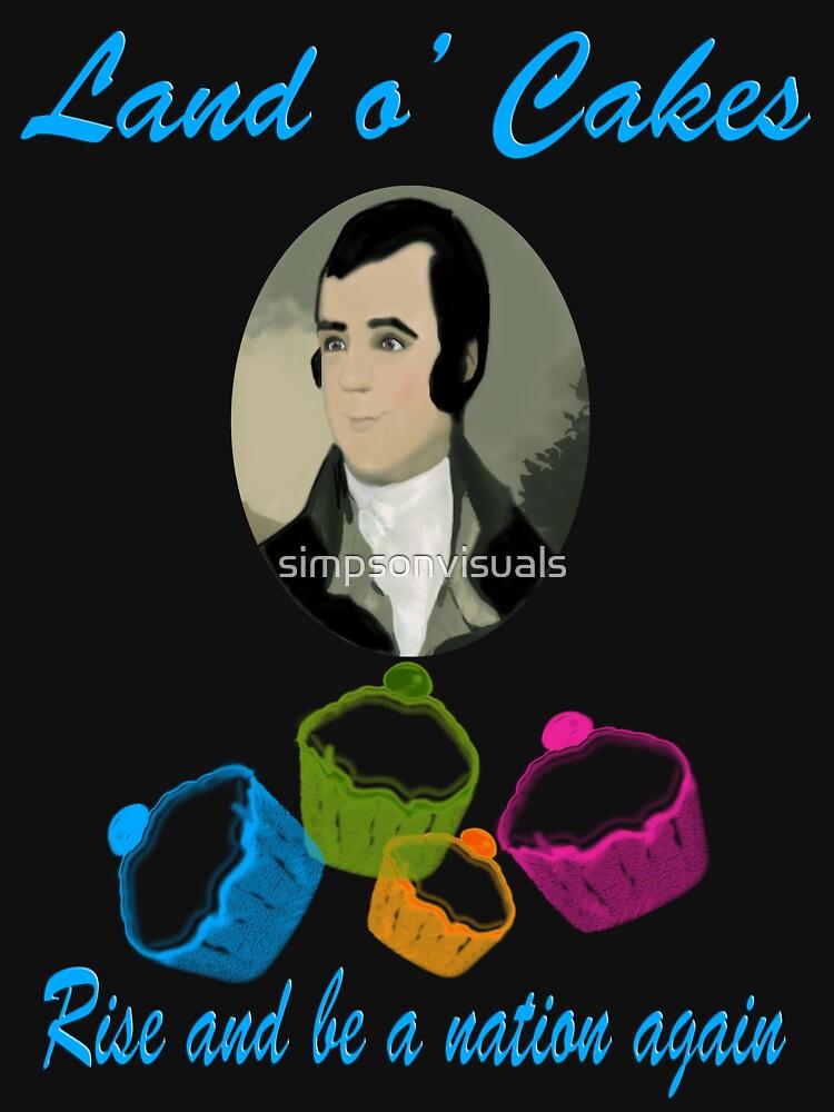 Robert Burns Scotland Land o' Cakes T-Shirt  by simpsonvisuals