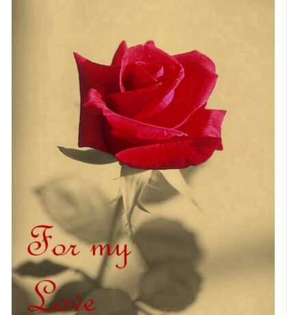 For My Love Vintage Valentine Greeting With Red Rose Sticker