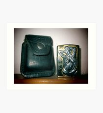 Old worn zippo lighter and  sheath bag v Art Print