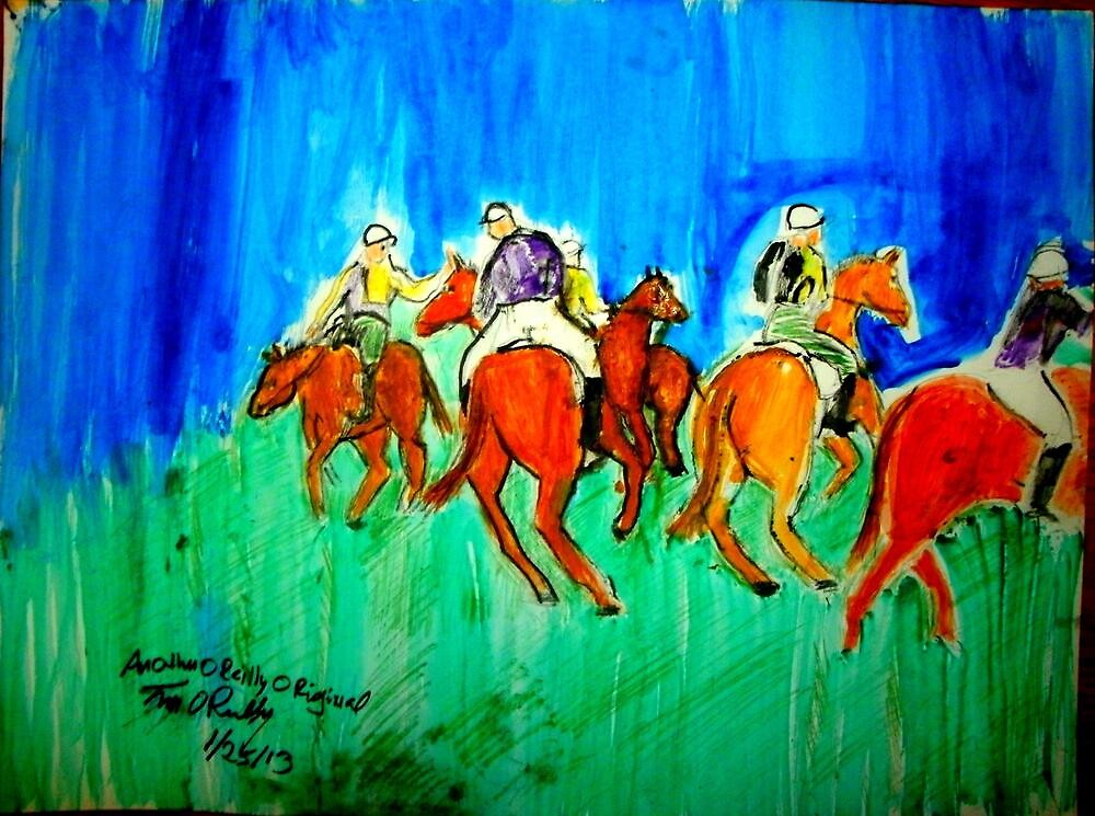 AnOther OReilly ORiginal Painting  Mr O Riding Polo Ponies At Santa Barbara Polo Club  by Timothy C O'Reilly