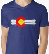 Colorado Flag Skis Men's V-Neck T-Shirt