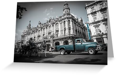 Old blue American truck in grey street. by brians101