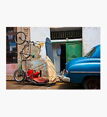 Parked car and bicitaxi, humourous. Photographic Print