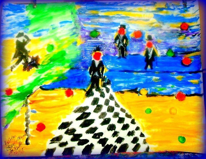 AnOther OReilly ORiginal Painting CPA walking the dog as Three Tux Tax men a coming by Timothy C O'Reilly