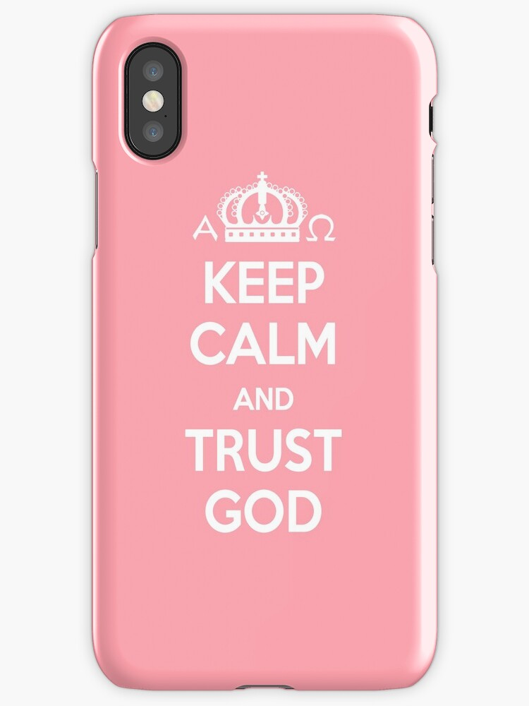 Religious Christian iPhone 6s Case Cover Keep Calm And Trust God Pink by Lana Wynne