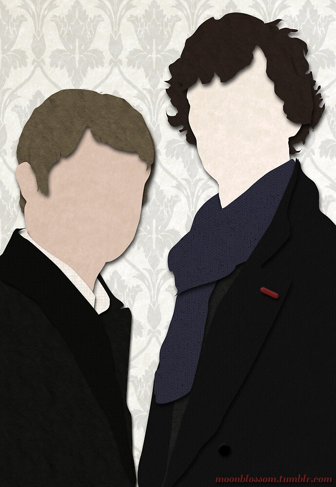 Paper-collage Sherlock and John by moonblossom