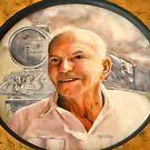 My Dad - oil painting by Chris Brunton