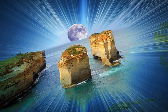 """Moonrise over """"The Twelve Apostles""""......(in your dreams...) by Kerry  Hill"""