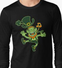 Irish Leprechaun Dancing and Singing Long Sleeve T-Shirt
