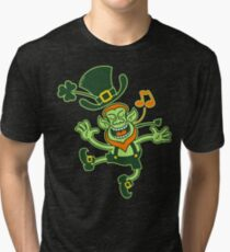 Irish Leprechaun Dancing and Singing Tri-blend T-Shirt