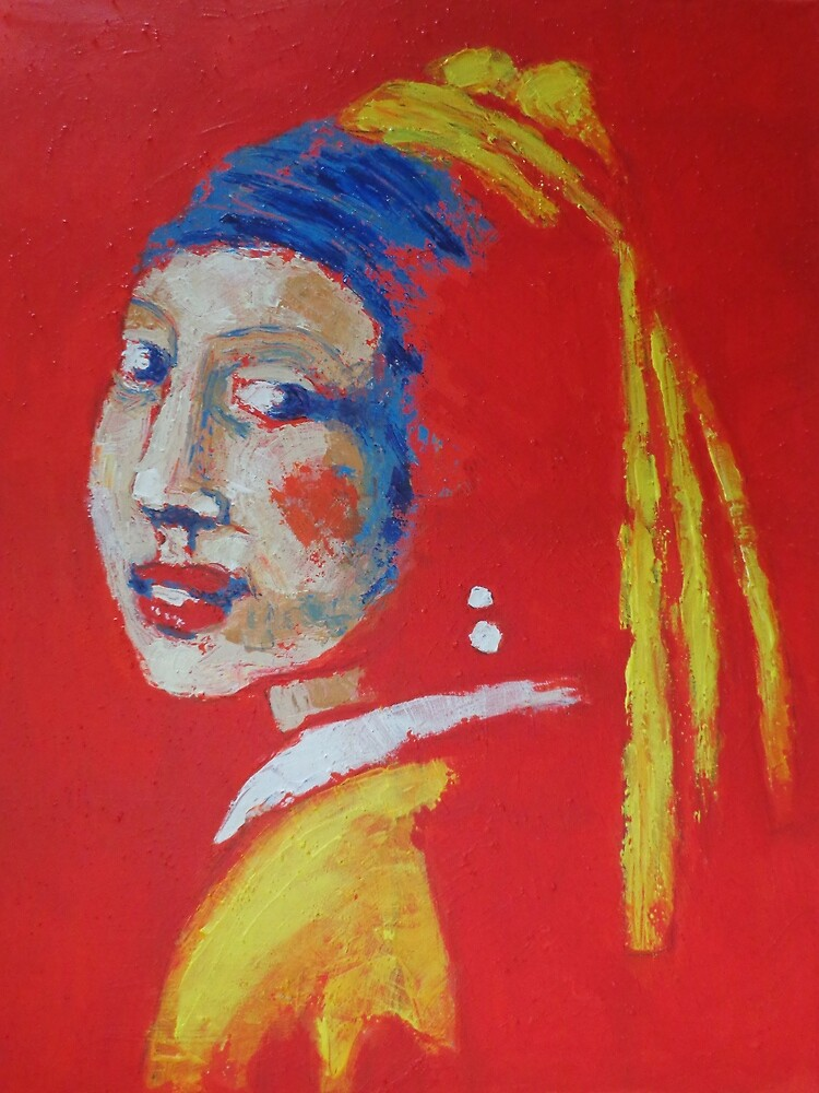 Girl With A Pearl Earring - Red Portrait by CarmenT