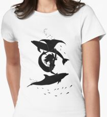Mermaid playing with Dolphins Women's Fitted T-Shirt