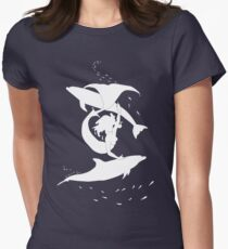 Mermaid playing with Dolphins (white) Women's Fitted T-Shirt