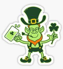 Green Leprechaun Drinking a Toast Sticker