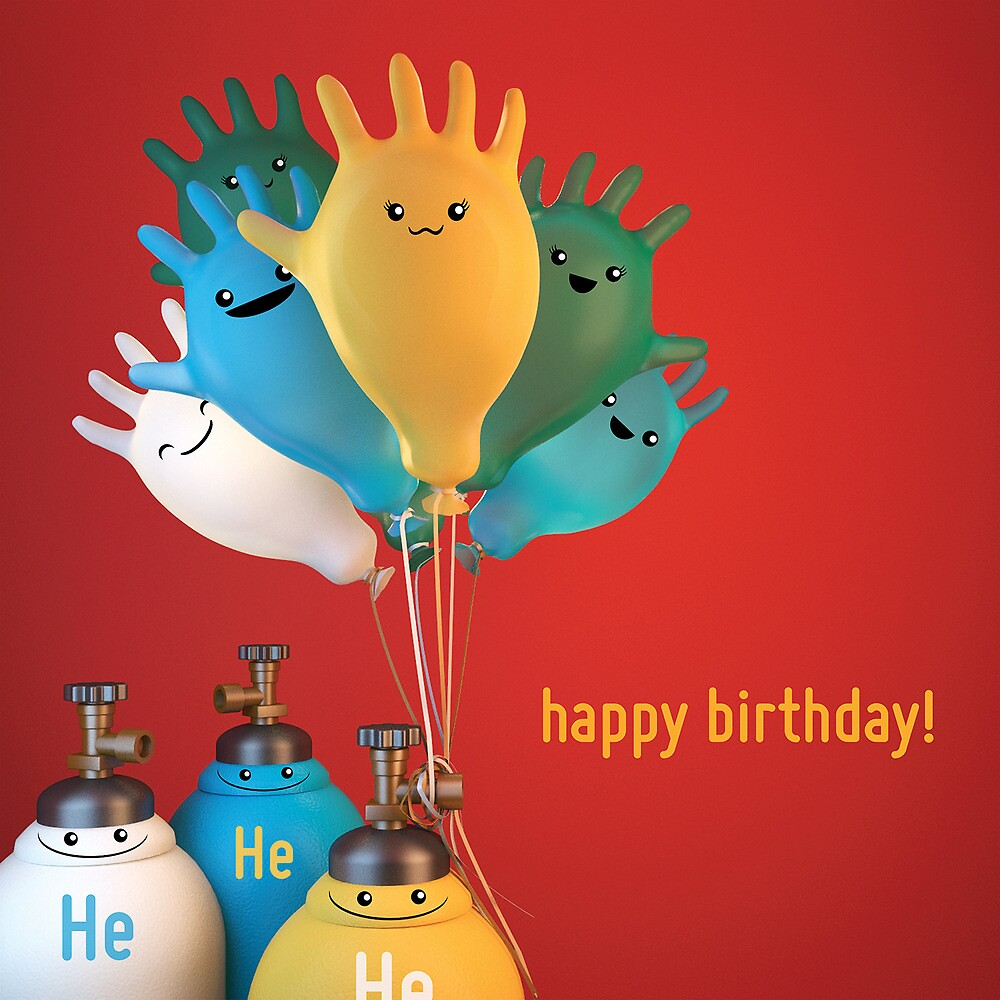 Happy Birthday - Helium Gloves - Cute Chemistry by chayground