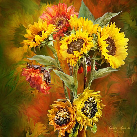 Sunflowers In Sunflower Vase Square Posters By Carol Cavalaris