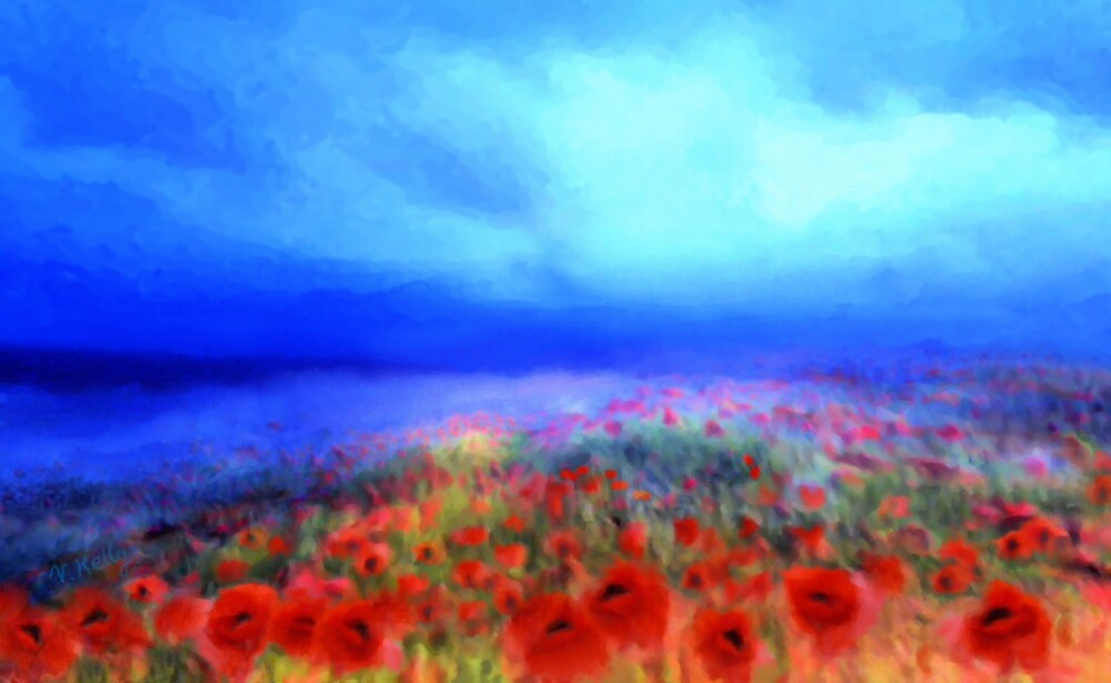 Poppies in the mist  by Valerie Anne Kelly