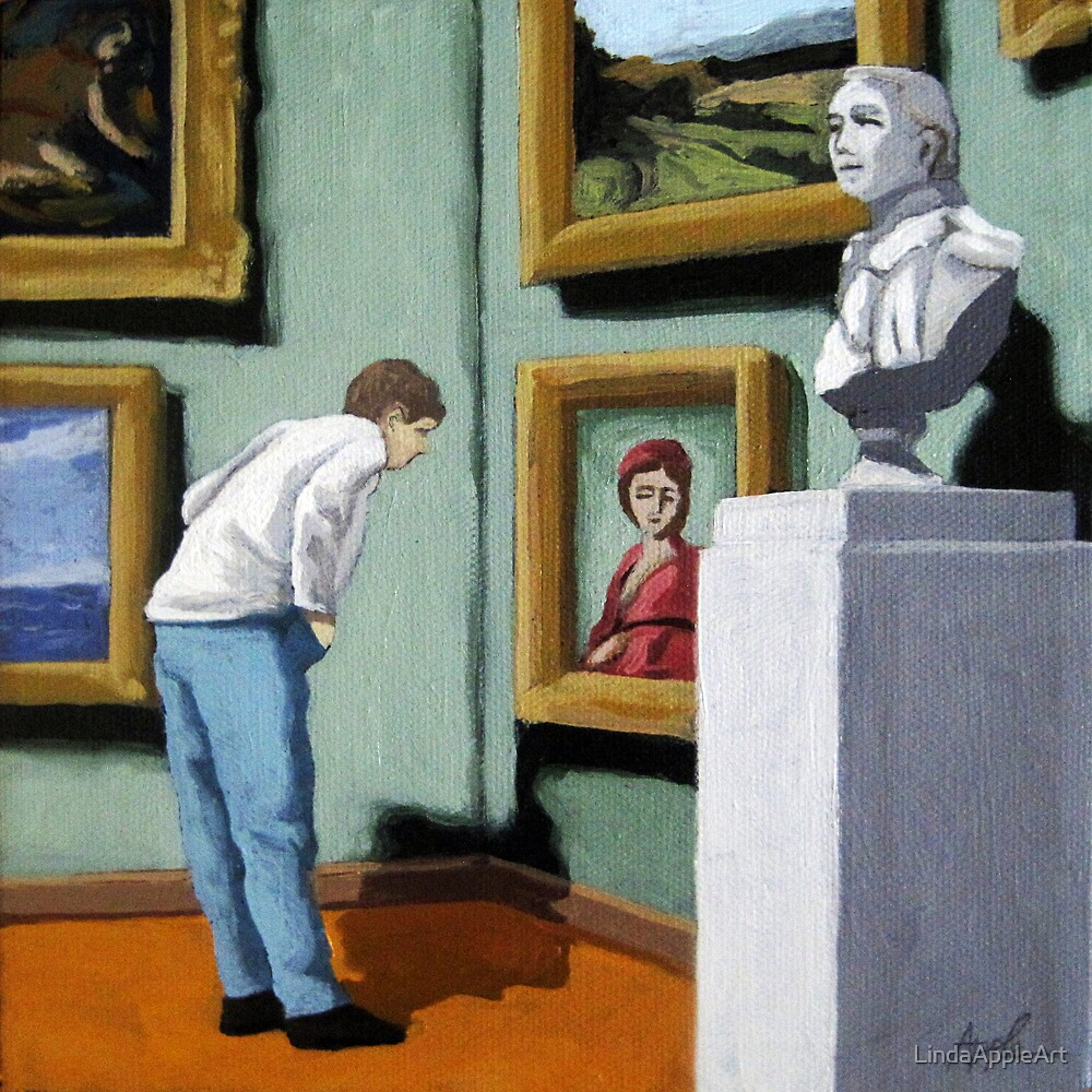 Woman Viewing Art - figurative oil painting by LindaAppleArt
