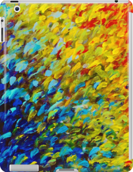 MAKING WAVES - Bold Rainbow Splash Ocean Waves Beach Nature Acrylic Painting by EbiEmporium