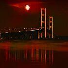 Mackinac Bridge in Red by Theodore Black