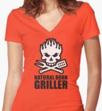 Natural born griller Women's Fitted V-Neck T-Shirt