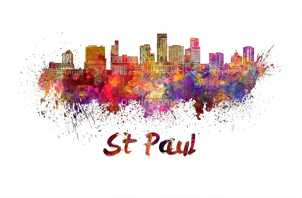 St Paul skyline in watercolor by paulrommer
