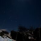 Full Moon, Jupiter, Orion and glowstix by Beverly Cash