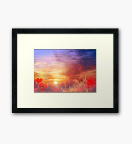 Landscape of dreaming Poppies  Framed Print