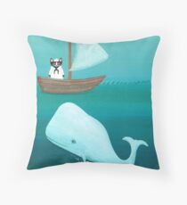 Cat Sailor and the Whale Throw Pillow