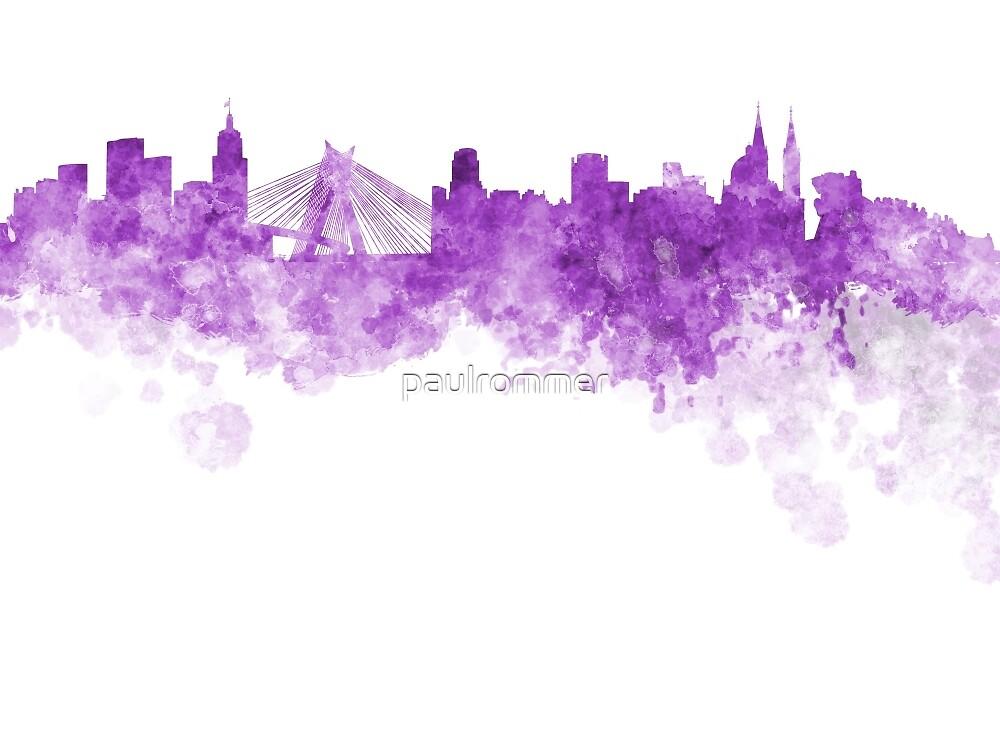 quotsao paulo skyline in purple watercolor on white