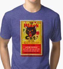 Black Cat Fireworks T-Shirt Tri-blend T-Shirt