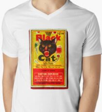 Black Cat Fireworks T-Shirt Men's V-Neck T-Shirt