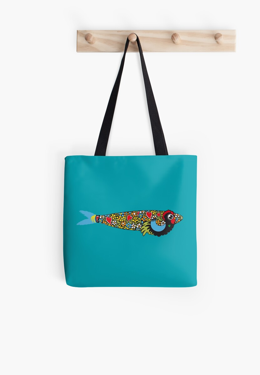 Symbols Of Portugal Cool Rooster Sardine Mix Tote Bags By Silvia