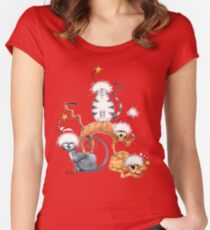 Kazart Xmas Cat Stack Tee Women's Fitted Scoop T-Shirt