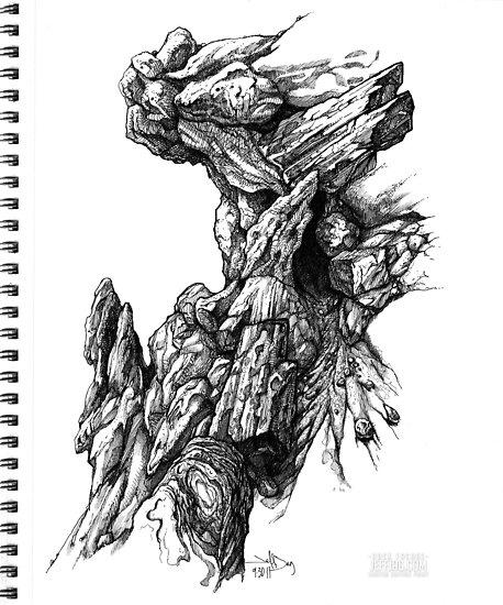 Rock Facade - Sketch Pen & Ink Illustration Art by jeffjag
