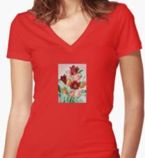 A Beautifully Bold Floral Bouquet of Tulips Women's Fitted V-Neck T-Shirt