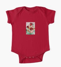 A Beautifully Bold Floral Bouquet of Tulips One Piece - Short Sleeve