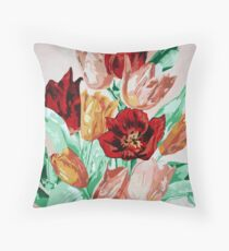 A Beautifully Bold Floral Bouquet of Tulips Throw Pillow