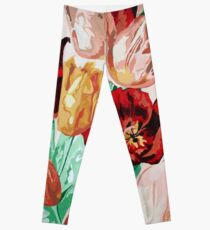 A Beautifully Bold Floral Bouquet of Tulips Leggings